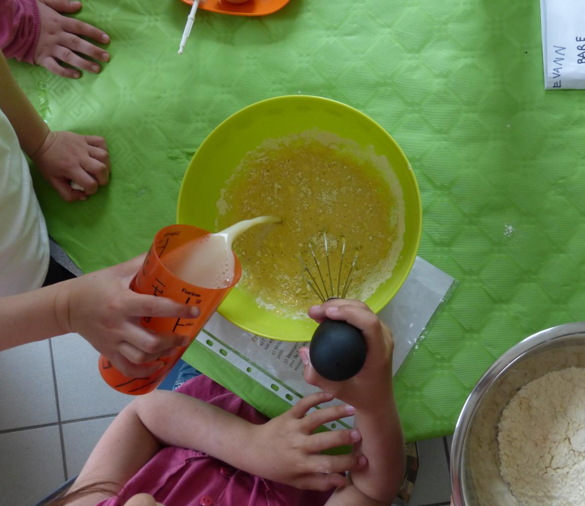 Confection de pâte à crêpes